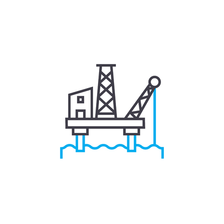 Offshore oil industry line icon, vector illustration. Offshore oil industry linear concept sign. Illustration