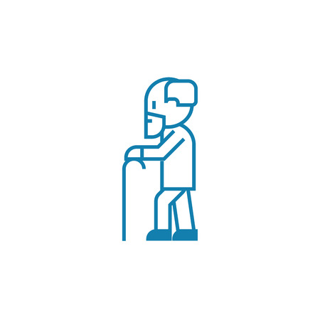 Old age line icon, vector illustration. Old age linear concept sign. Ilustrace