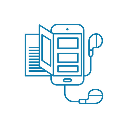 Mobile headset line icon, vector illustration. Mobile headset linear concept sign. Illustration