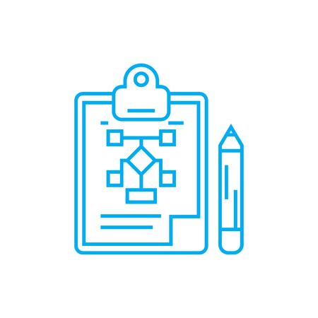 Organizational structure development line icon, vector illustration. Organizational structure development linear concept sign.