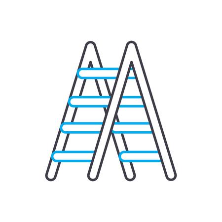 Metal stepladder line icon, vector illustration. Metal stepladder linear concept sign. Stock Illustratie