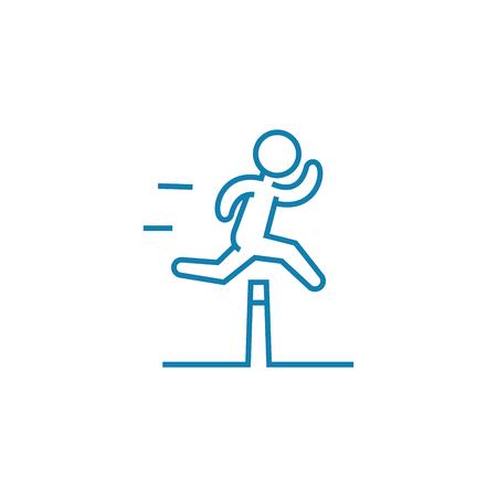 Icona della linea di difficoltà di superamento, illustrazione vettoriale. Superare le difficoltà concetto lineare segno. Vettoriali