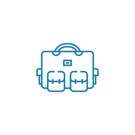 Packed bag line icon, vector illustration. Packed bag linear concept sign.