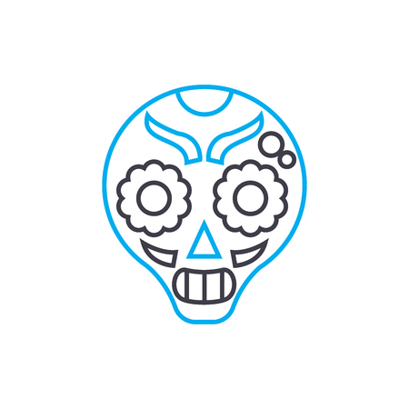 Painted mask line icon, vector illustration. Painted mask linear concept sign. Illustration