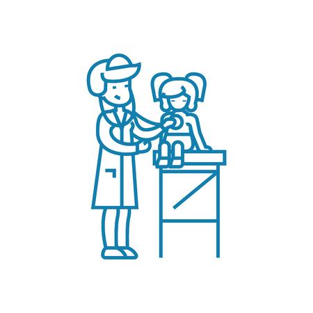 Pediatrician line icon, vector illustration. Pediatrician linear concept sign. Illustration