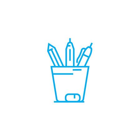Pencil case line icon, vector illustration. Pencil case linear concept sign. Stock Illustratie