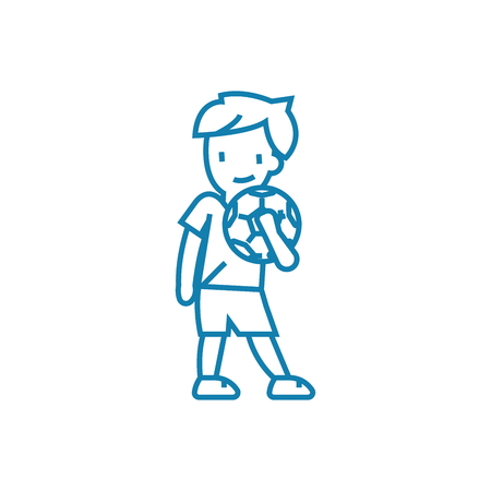 Playing football line icon, vector illustration. Playing football linear concept sign. Illustration