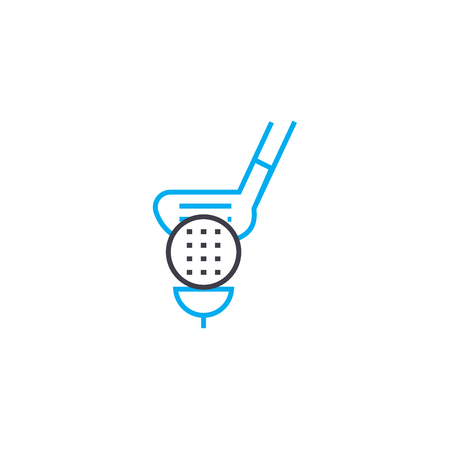 Playing golf line icon, vector illustration. Playing golf linear concept sign. Çizim