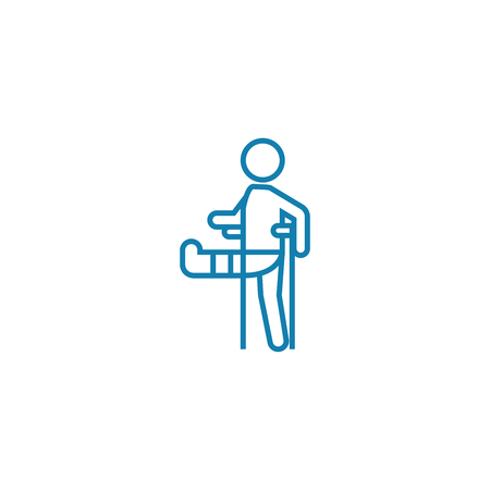 Physical trauma line icon, vector illustration. Physical trauma linear concept sign. Çizim