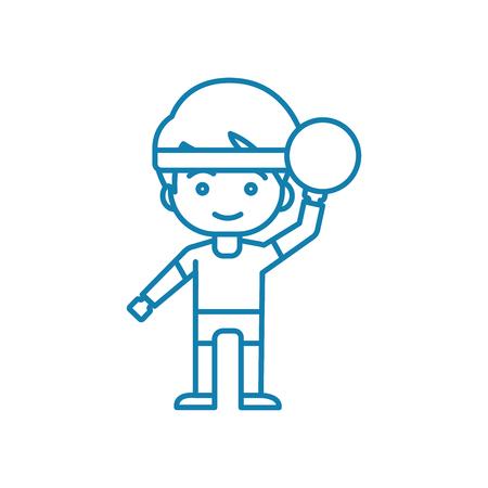 Playing handball line icon, vector illustration. Playing handball linear concept sign.