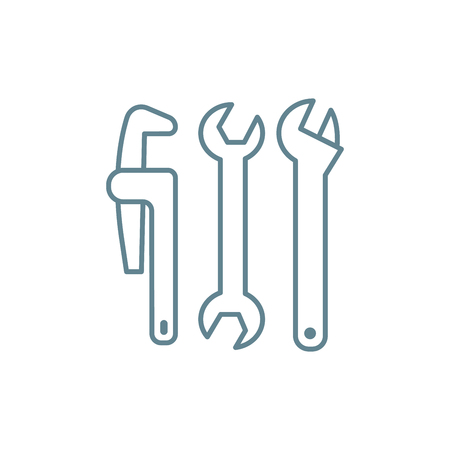 Plumbing tools line icon, vector illustration. Plumbing tools linear concept sign.