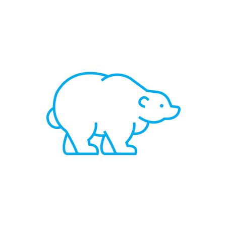 Polar bear line icon, vector illustration. Polar bear linear concept sign.