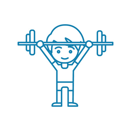 Powerlifting line icon, vector illustration. Powerlifting linear concept sign.