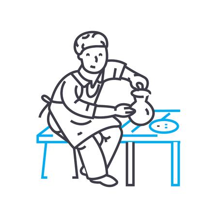 Pottenbakkers lijn pictogram, vectorillustratie. Pottenbakkers bedrijf lineaire concept teken.