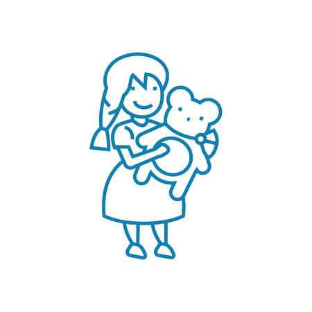 Playing with teddy line icon, vector illustration. Playing with teddy linear concept sign. Illustration