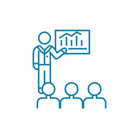 Presentation of analyst line icon, vector illustration. Presentation of analyst linear concept sign. Illustration