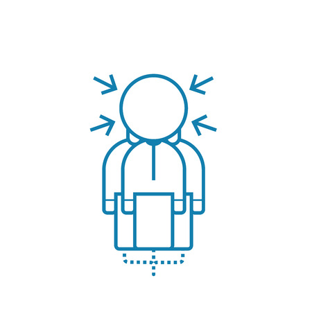Pressure of circumstances line icon, vector illustration. Pressure of circumstances linear concept sign. Иллюстрация