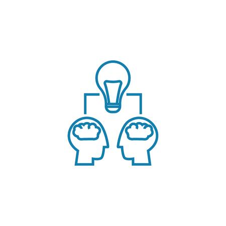 Projet équipe travail travail ligne illustration vectorielle. concept de travail de l & # 39 ; équipe de travail . vector design signe Banque d'images - 102005745
