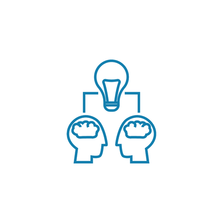 Project team work line icon, vector illustration. Project team work linear concept sign. Illustration
