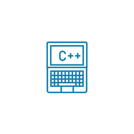 Programming in c   line icon, vector illustration. Programming in c   linear concept sign. Ilustração