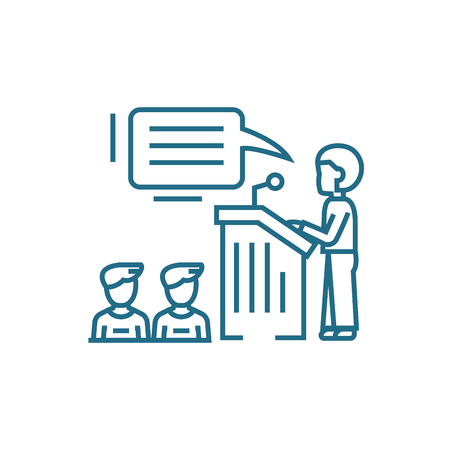 Public appeal line icon, vector illustration. Public appeal linear concept sign.