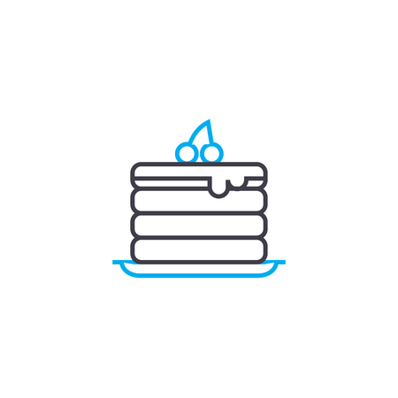 Puff cake line icon, vector illustration. Puff cake linear concept sign.