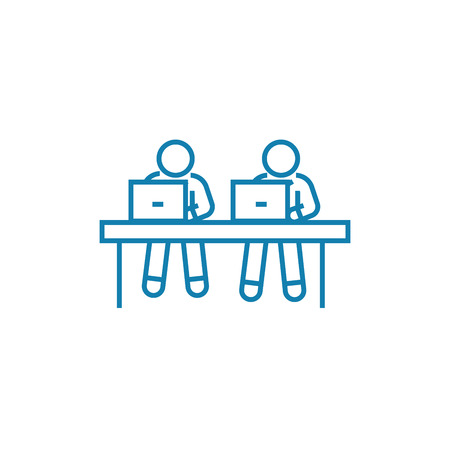 Pupils in classroom line icon, vector illustration. Pupils in classroom linear concept sign.
