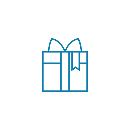 Purchasing a gift line icon, vector illustration. Purchasing a gift linear concept sign.