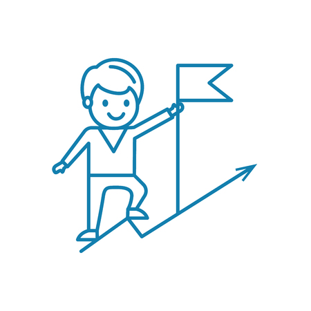Pursuit of success line icon, vector illustration. Pursuit of success linear concept sign.