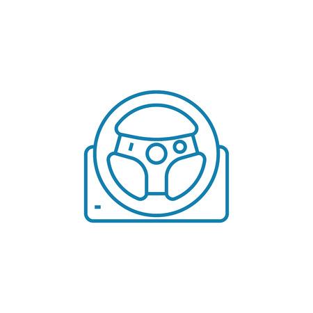 Racing wheel line icon, vector illustration. Racing wheel linear concept sign.