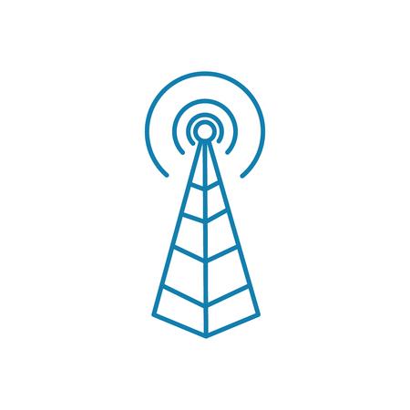 Icona della linea della stazione radio base, illustrazione vettoriale. Segno di concetto lineare di stazione base radio.