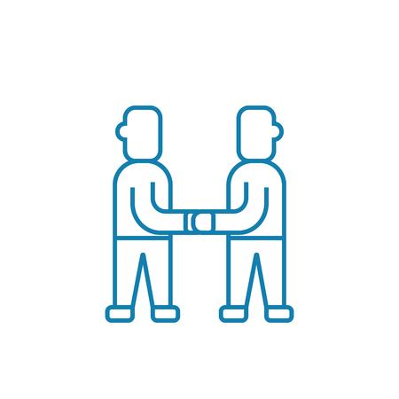 Reaching consensus line icon, vector illustration. Reaching consensus linear concept sign. Foto de archivo - 101996437