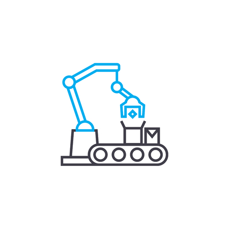 Production line line icon, vector illustration. Production line linear concept sign. 스톡 콘텐츠 - 102010014