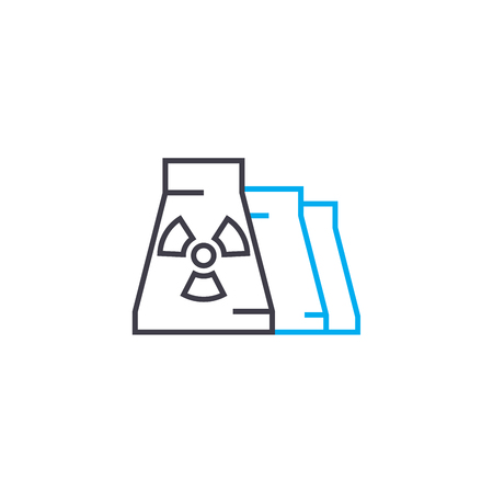 Production of radioactive substances line icon, vector illustration. Production of radioactive substances linear concept sign. Ilustrace