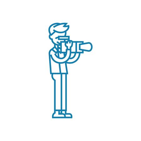 Professional camera line icon, vector illustration. Professional camera linear concept sign.