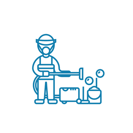 Professional cleaning line icon, vector illustration. Professional cleaning linear concept sign.
