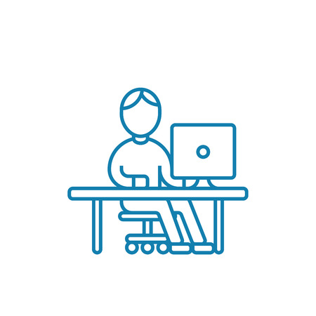 Rest at the computer line icon, vector illustration. Rest at the computer linear concept sign.