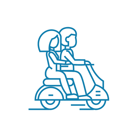 Riding on a motorcycle line icon, vector illustration. Riding on a motorcycle linear concept sign. Иллюстрация