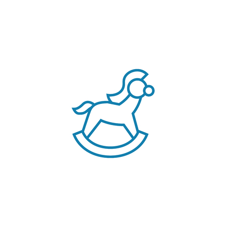 Rocking horse line icon, vector illustration. Rocking horse linear concept sign. Çizim