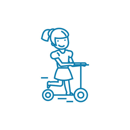 Riding a scooter line icon, vector illustration. Riding a scooter linear concept sign. 版權商用圖片 - 101996444