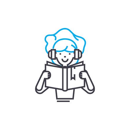 Reading kids books  line icon, vector illustration. Reading kids books  linear concept sign. Çizim