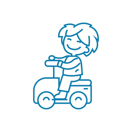 Riding a toy car line icon, vector illustration. Riding a toy car linear concept sign. Archivio Fotografico - 102010241