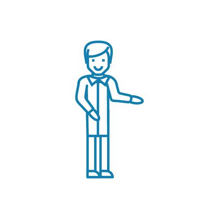 Religious preaching line icon, vector illustration. Religious preaching linear concept sign. Stock Illustratie