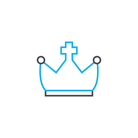 Royal crown line icon, vector illustration. Royal crown linear concept sign.