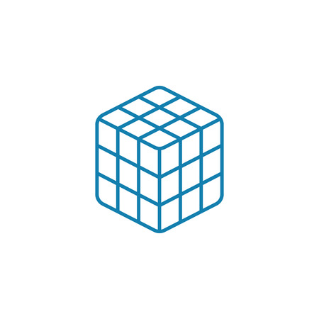 Rubiks cube line icon, vector illustration. Rubiks cube linear concept sign. Иллюстрация
