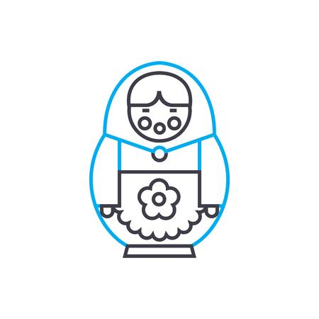 Russian doll line icon, vector illustration. Russian doll linear concept sign. Standard-Bild - 102032047