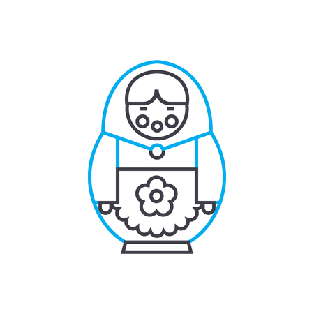 Russian doll line icon, vector illustration. Russian doll linear concept sign. Illustration
