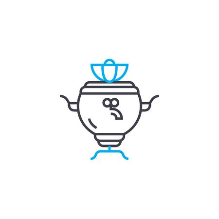 Russian samovar line icon, vector illustration. Russian samovar linear concept sign. Reklamní fotografie - 102005849