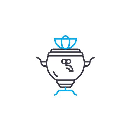 Russian samovar line icon, vector illustration. Russian samovar linear concept sign.
