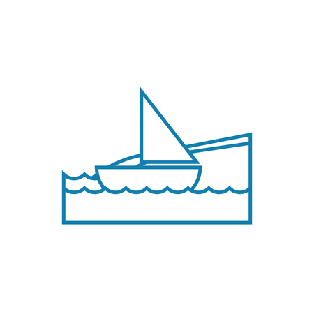 Sailing yacht line icon, vector illustration. Sailing yacht linear concept sign.
